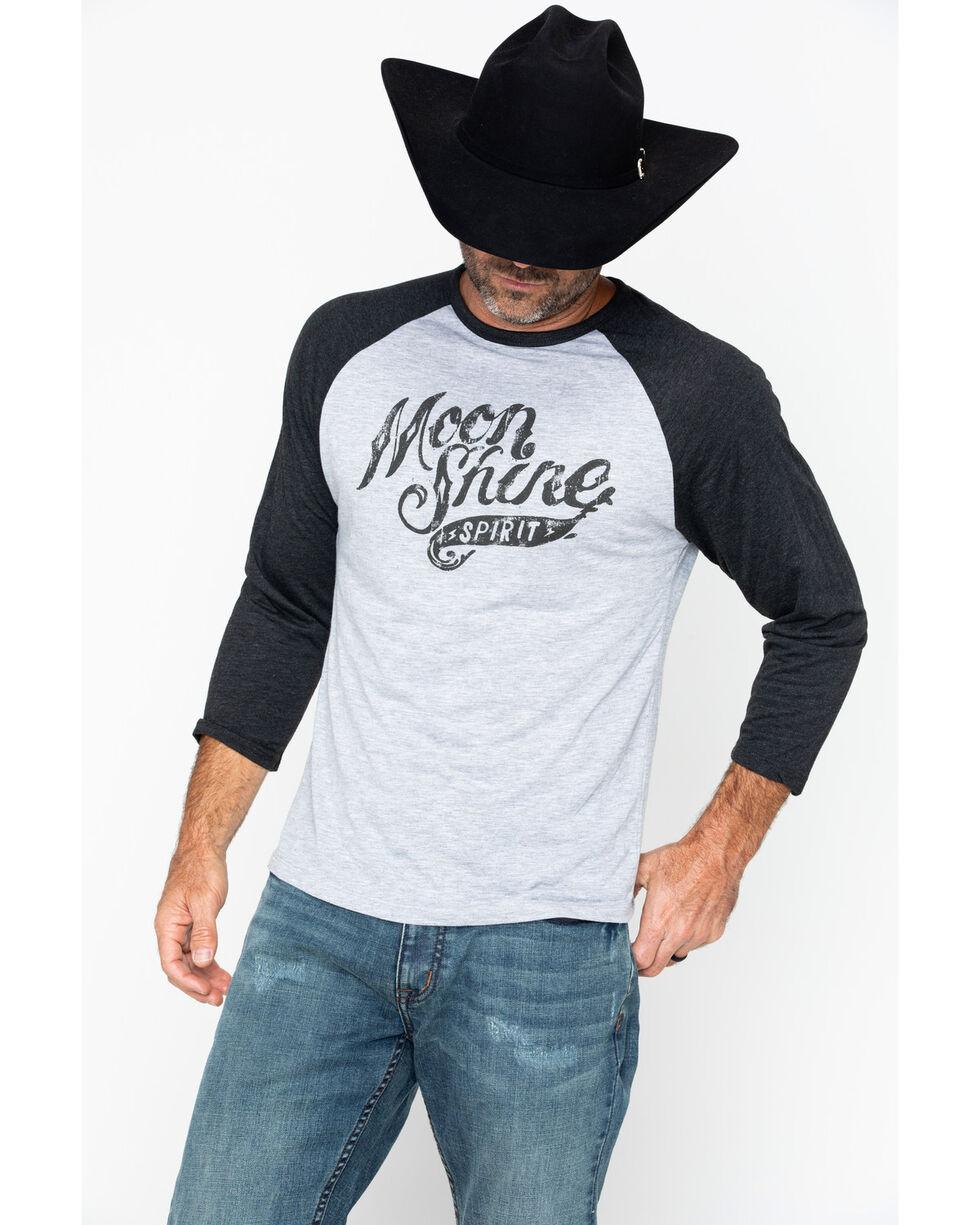 Moonshine Spirit Men's Distressed Logo Baseball Tee, Black, hi-res