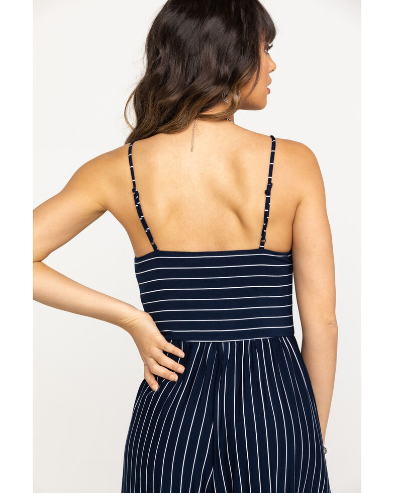 Mystree Women's Navy & White Stripe Wide Leg Jumpsuit , Navy, hi-res