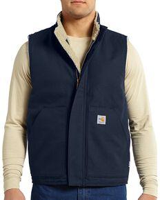 Carhartt Men's Flame Resistant Mockneck Vest, Navy, hi-res