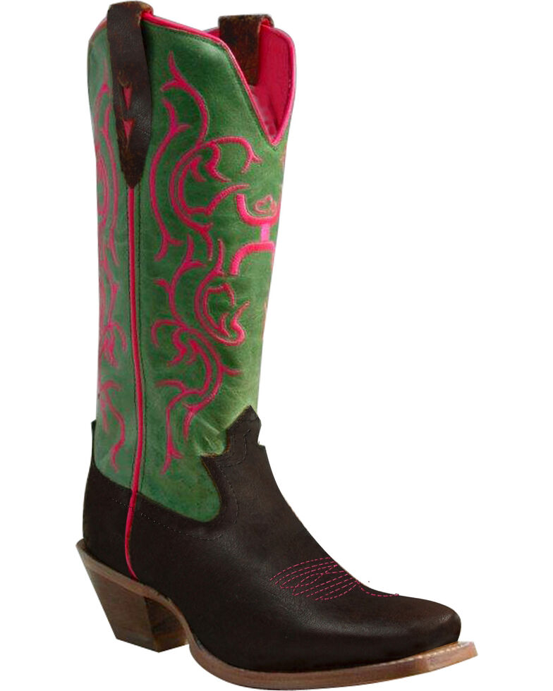 Twisted X Women's Hooey Cowgirl Boots - Square Toe, Brown, hi-res