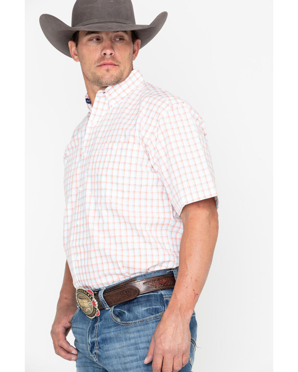 George Strait by Wrangler Coral Small Plaid Short Sleeve Western Shirt , Coral, hi-res