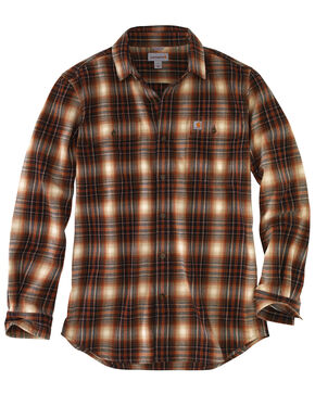 Carhartt Men's Hubbard Long Sleeve Plaid  Flannel Work Shirt - Big & Tall, Red/brown, hi-res
