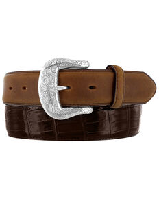 Tony Lama Men's Georgetown Croc Leather Belt, Dark Brown, hi-res