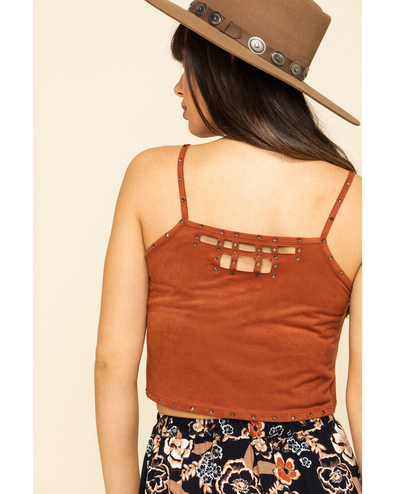 Shyanne Women's Faux Suede Studded Crop Cami , Rust Copper, hi-res