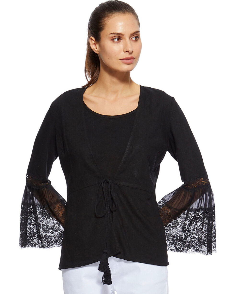 Angel Premium Women's Black Davis Cardigan, Black, hi-res
