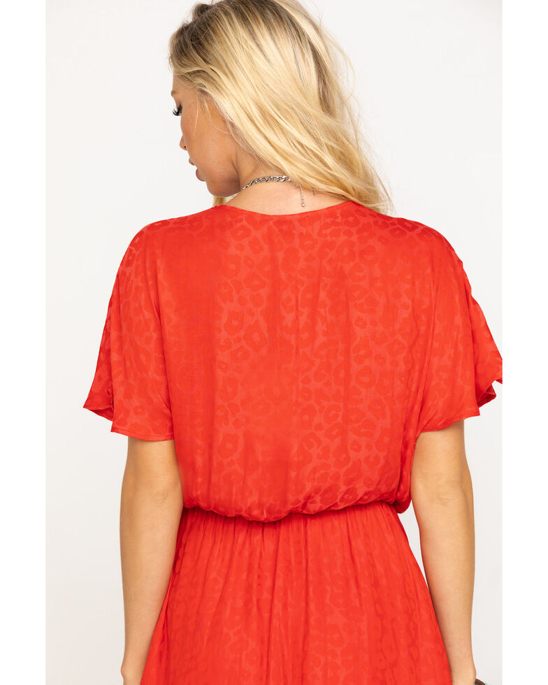 Show Me Your Mumu Women's Red Silky Cheetah Sandrine Ruffle Dress, Red, hi-res