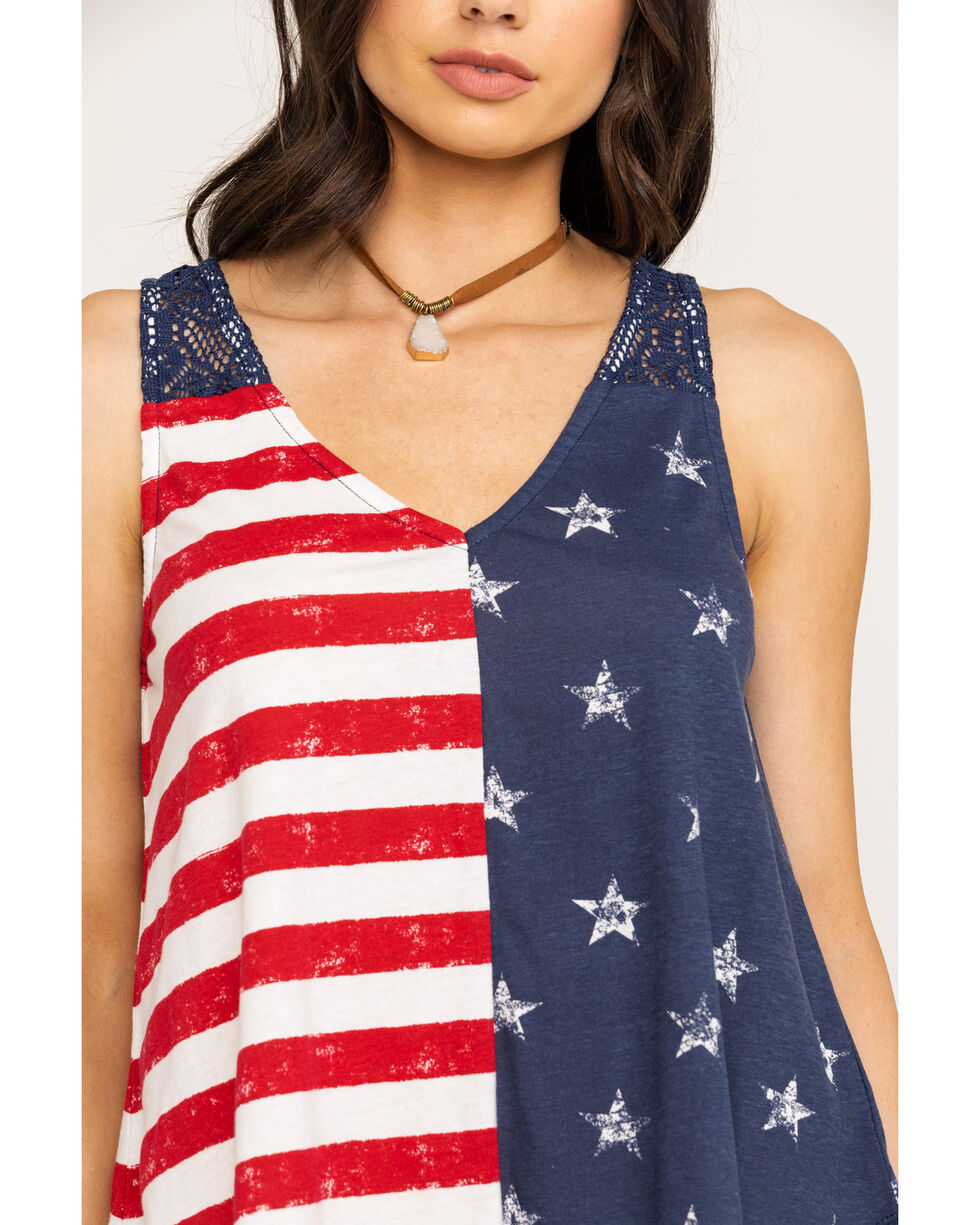 Others Follow Women's Americana Flag Crochet Back Tank Top, Red/white/blue, hi-res