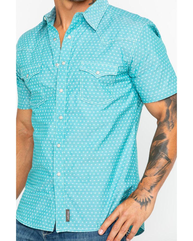 Wrangler Retro Men's Green Geo Print Short Sleeve Western Shirt , Green, hi-res