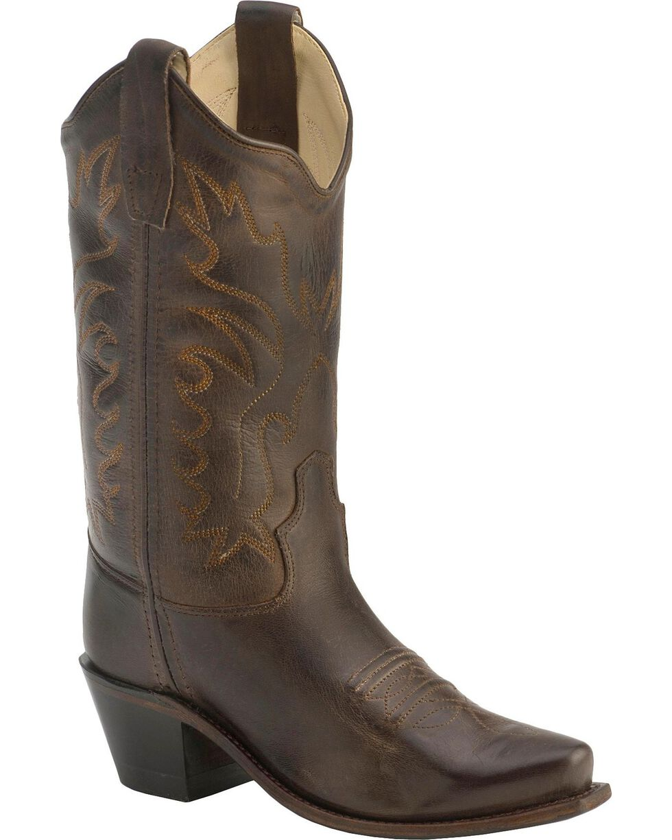 Old West Children's Fashion Stitched Cowboy Boots - Snip Toe, Brown, hi-res