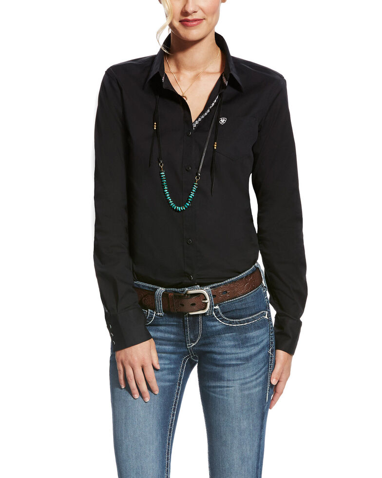 Ariat Women's Kirby Black Stretch Button Down Long Sleeve Shirt , Black, hi-res