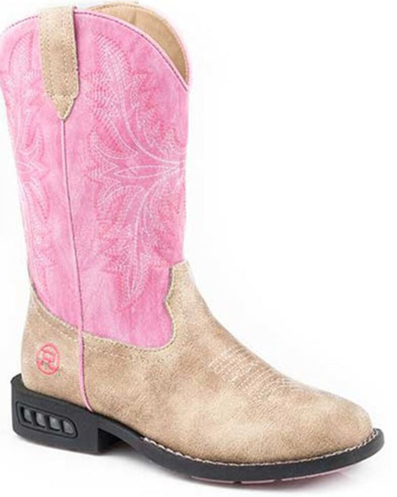 Roper Toddler Girls' Dazzle Western Boots - Square Toe, Tan, hi-res