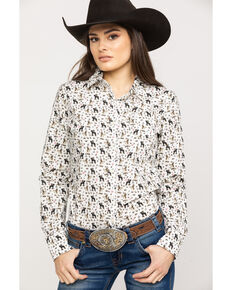 Ariat Women's Kirby Pasture Print Stretch Long Sleeve Shirt, White, hi-res