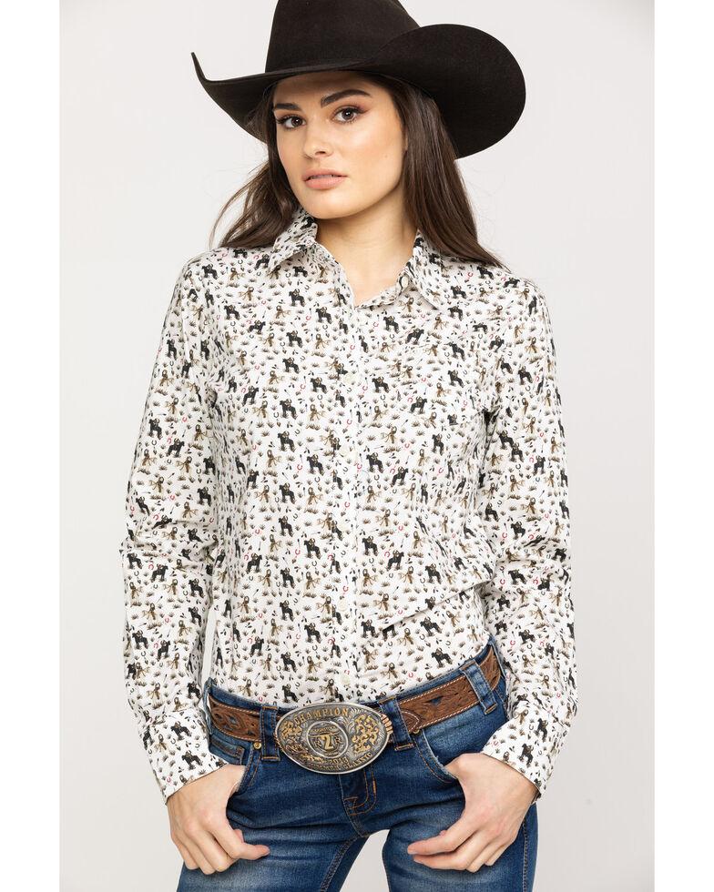Ariat Women's Kirby Pasture Print Stretch Long Sleeve Shirt, White, hi-res