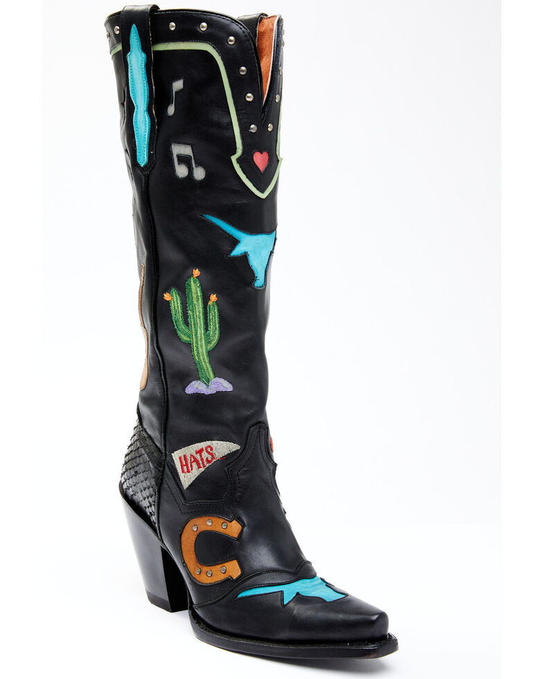 Dan Post Women's Western Music Embroidery Western Boots - Snip Toe, Black, hi-res