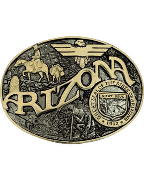 Montana Silversmiths Arizona State Belt Buckle, Gold, hi-res