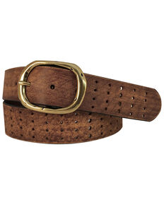 Cowgirls Rock Women's Tan Perforation Buckle Belt , Brown, hi-res