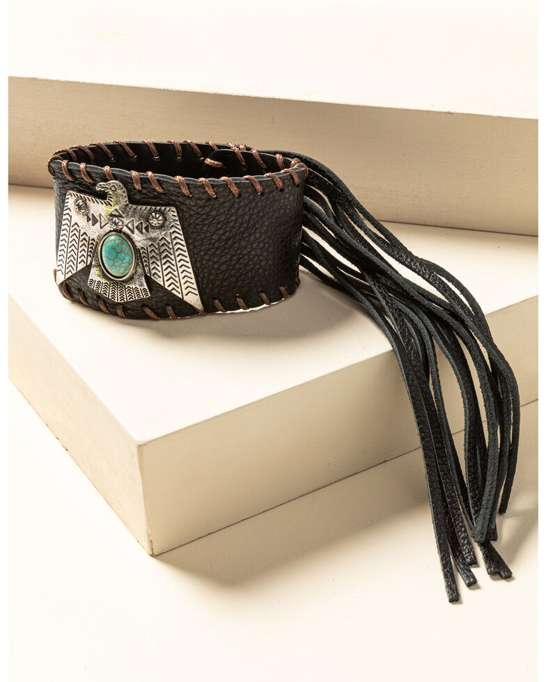 Idyllwind Women's Thunderbird Leather Cuff Bracelet, Brown, hi-res