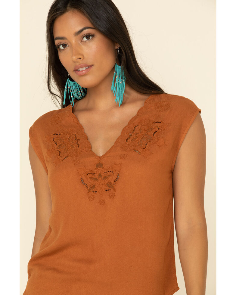 Idyllwind Women's Meadow Lace V-Neck Top, Brown, hi-res