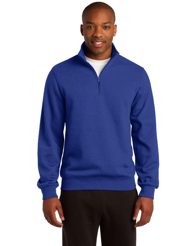 Sport Tek Men's Royal Blue 1/4 Zip Pullover Sweatshirt , Royal Blue, hi-res