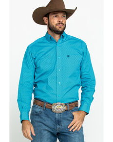 Ariat Men's Tasher Stretch Fitted Geo Print Long Sleeve Western Shirt , Blue, hi-res