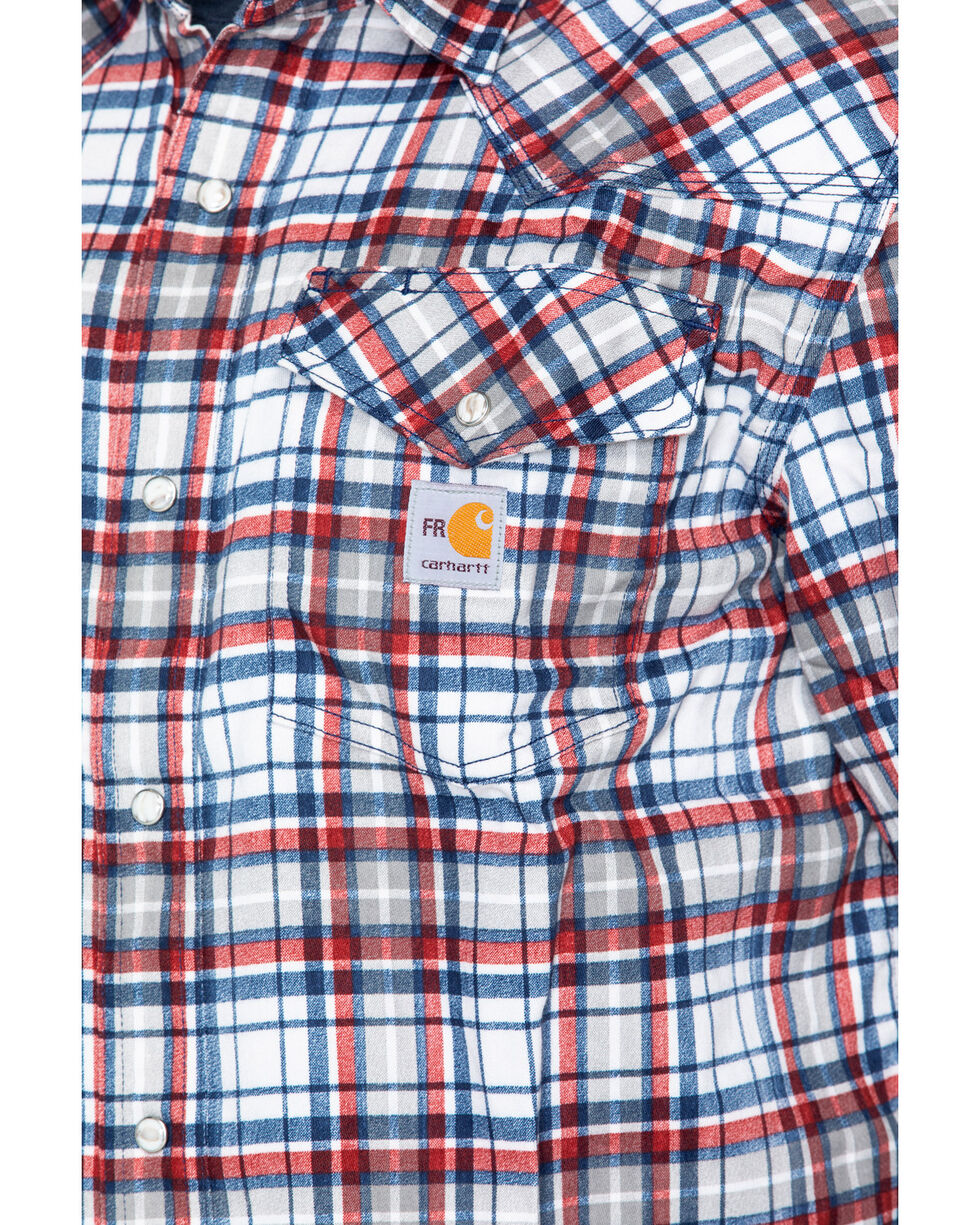 Carhartt Men's Plaid Navy Flame-Resistant Snap-Front Shirt , Navy, hi-res