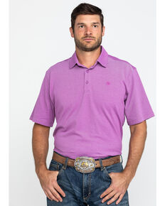 Ariat Men's Blue Pique TEK Short Sleeve Polo Shirt , Purple, hi-res