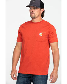 Carhartt Men's Force Cotton Delmont Short Sleeve Work T-Shirt - Big , Heather Red, hi-res