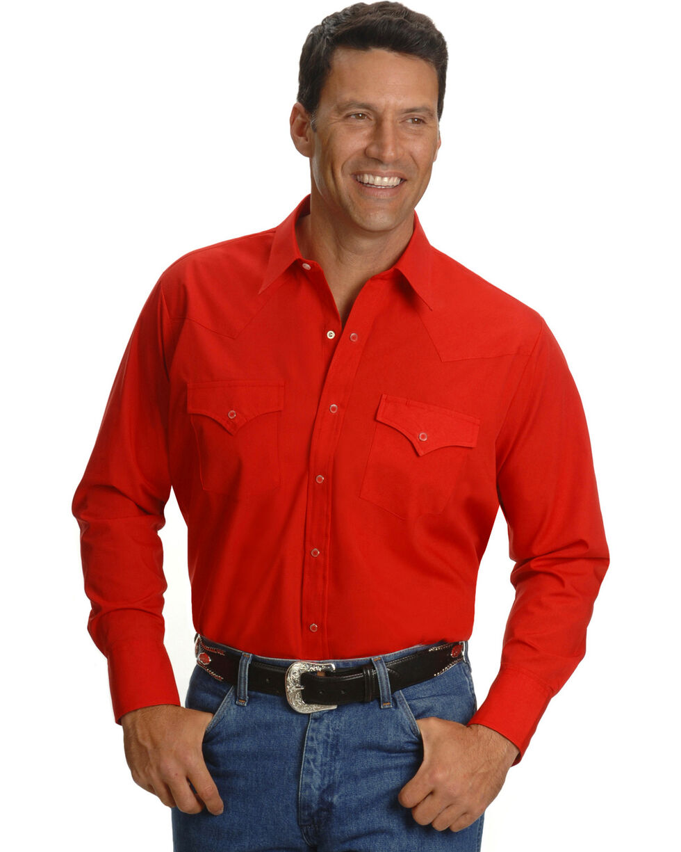 Ely Cattleman Men's Long Sleeve Solid Western Shirt - Big & Tall, Red, hi-res