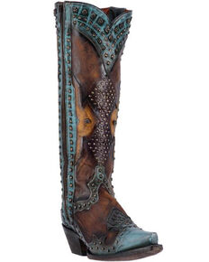 Dan Post Women's Natasha Studded Western Boots, Brown, hi-res