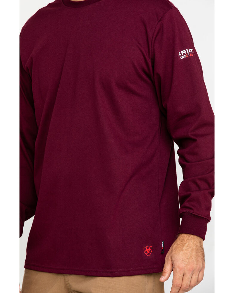 Ariat Men's Wine FR O&G Graphic Long Sleeve Work T-Shirt - Tall , Wine, hi-res