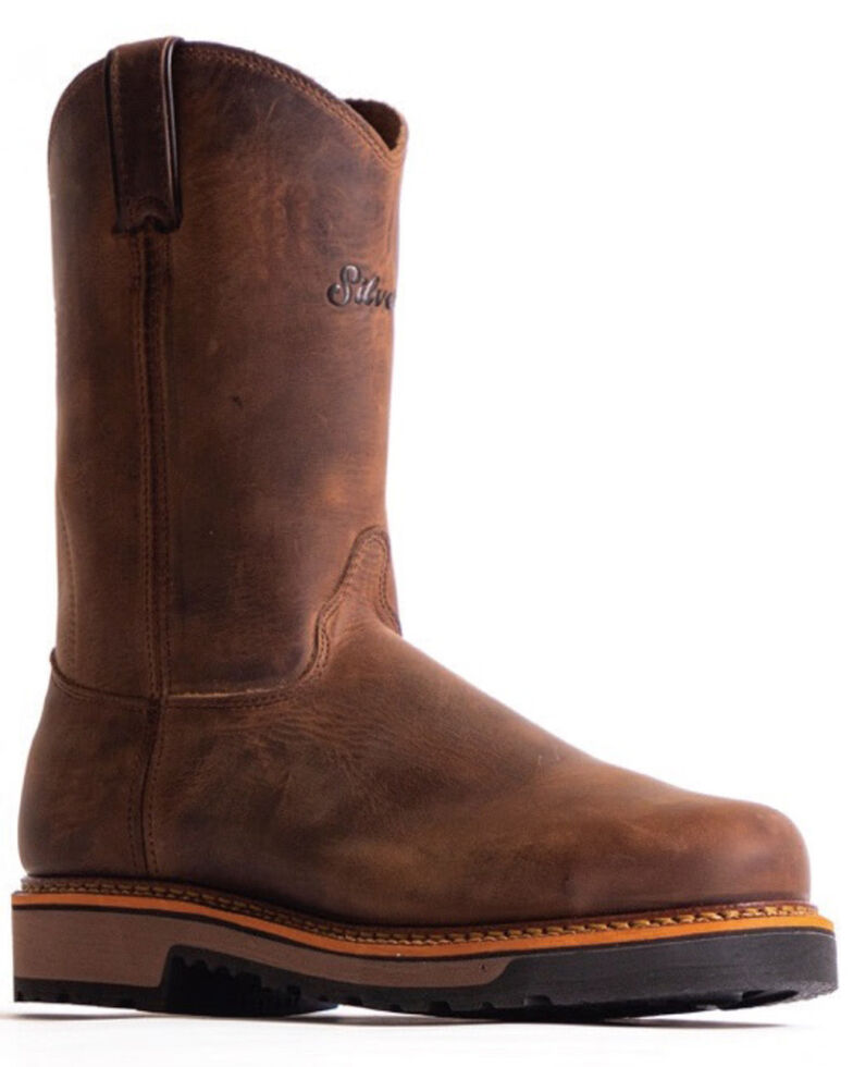 "Silverado Men's 10"" Western Work Boots - Soft Toe, Brown, hi-res"