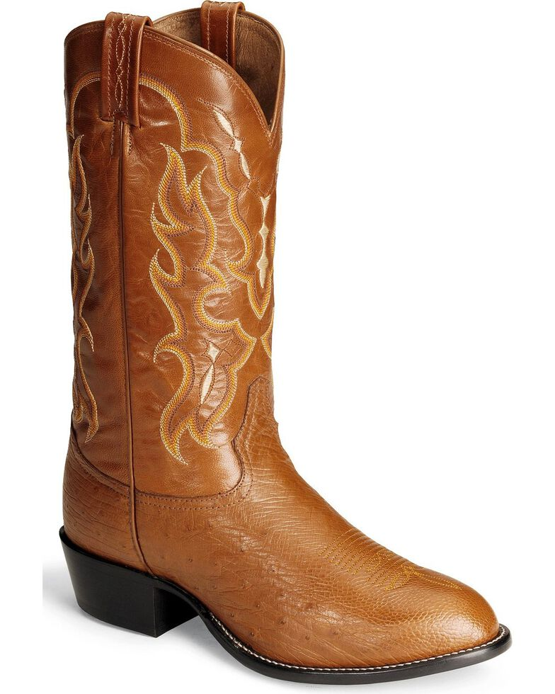 Tony Lama Men's Smooth Ostrich Western Boots - Round Toe, Peanut Brittle, hi-res