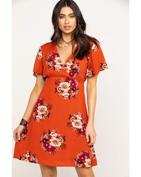 Jody of California Women's Floral Surplice Short Sleeve Dress, Rust Copper, hi-res