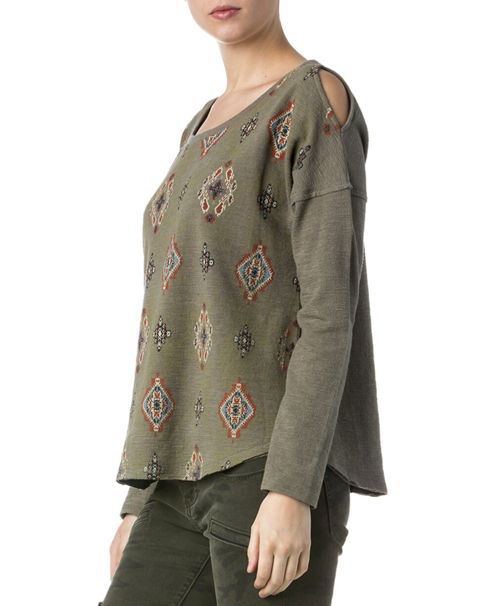 Miss Me Women's Olive Tribal Print Cold Shoulder Sweatshirt Top , Olive, hi-res