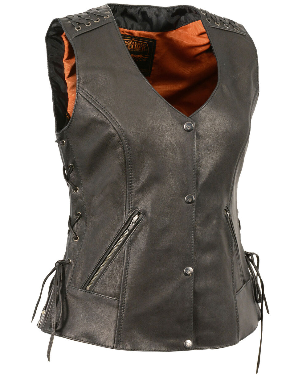 Milwaukee Leather Women's Lightweight Lace To Lace Snap Front Vest - 3X, Black, hi-res