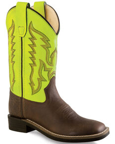 Old West Neon Yellow Boys' Cowboy Boots - Square Toe , Brown, hi-res