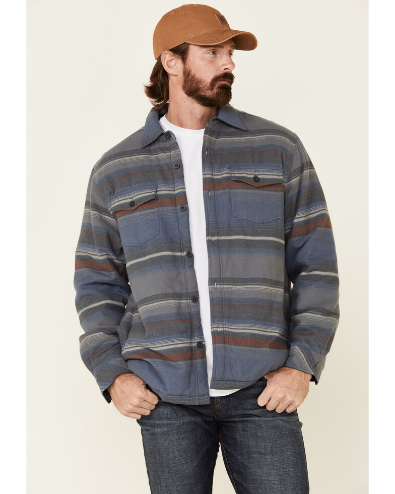 North River Men's Blue Indigo Sherpa Lined Striped Flannel Shirt Jacket , Blue, hi-res