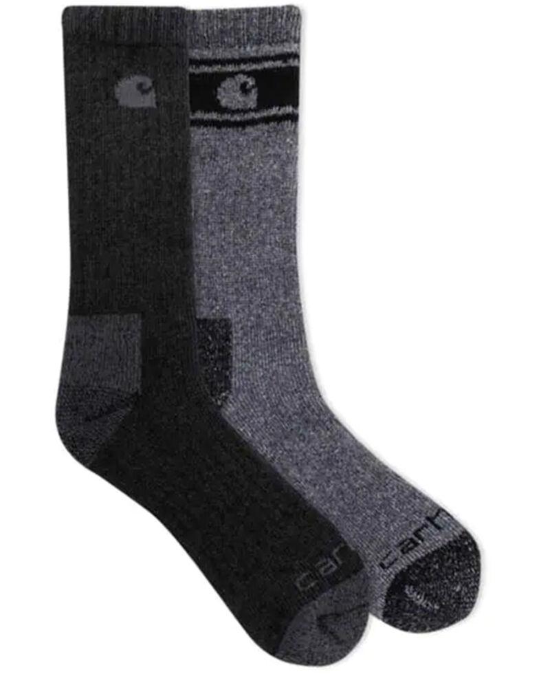 Carhartt Men's F20 Thermal Work Socks - 4 Pack, Black, hi-res