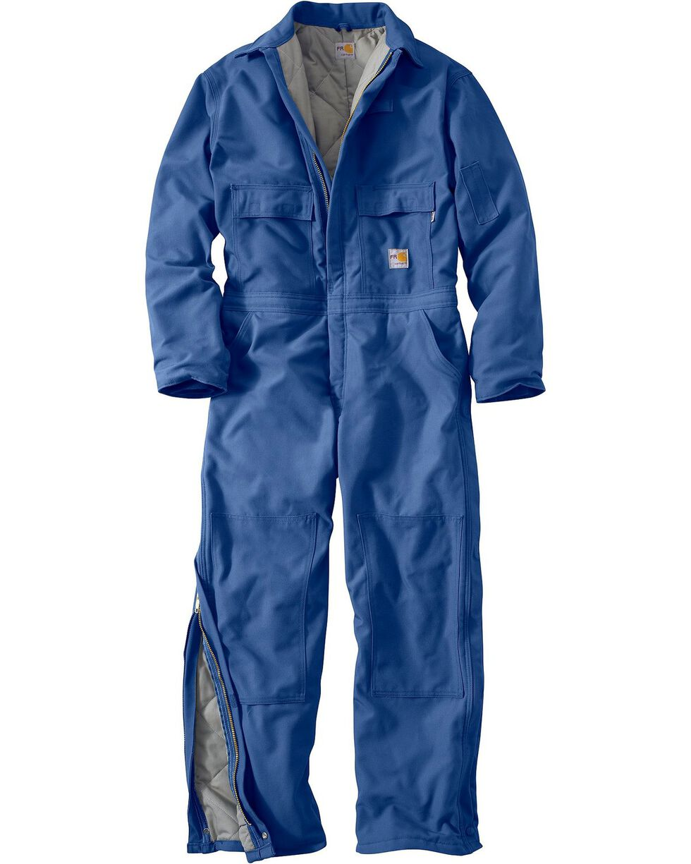 Carhartt Men's Flame Resistant Quilt Lined Coveralls, Royal, hi-res