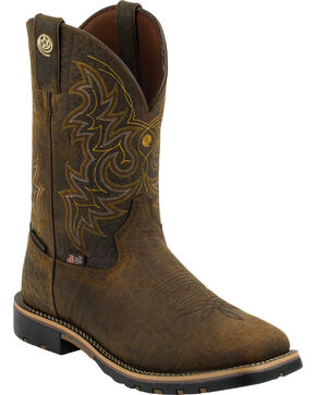 Justin Men's Dark Brown George Strait Waterproof Cowboy Boots - Square Toe , Bark, hi-res