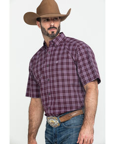 Ariat Men's Fallbrook Multi Plaid Short Sleeve Western Shirt - Tall , Multi, hi-res