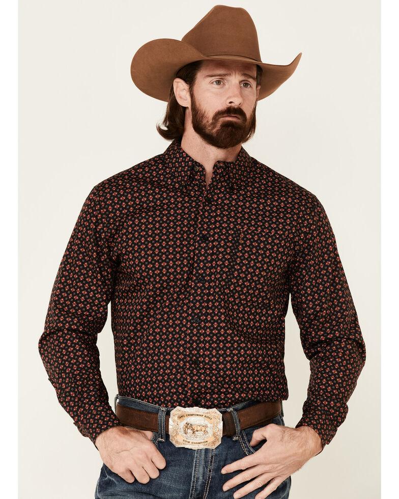 Cinch Men's Modern Fit Aztec Geo Print Long Sleeve Western Shirt , Black, hi-res
