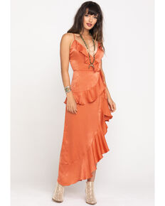 Flying Tomato Women's Salmon Satin Ruffle Wrap Dress, Peach, hi-res