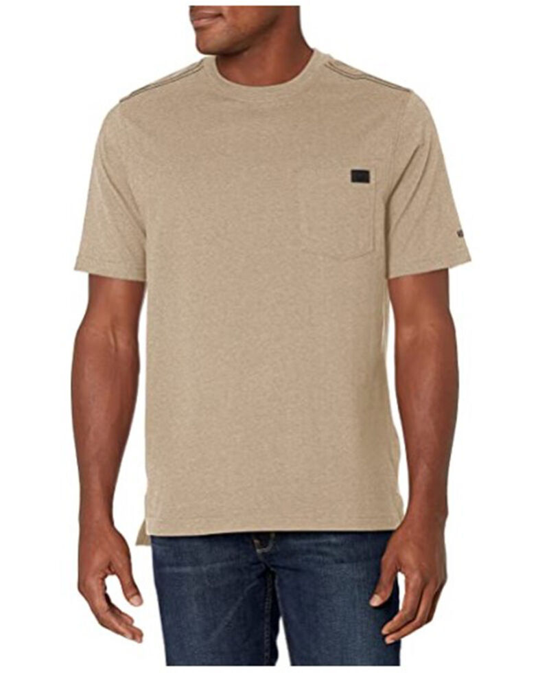Wolverine Men's Solid Tan Guardian Short Sleeve Work Pocket T-Shirt , Tan, hi-res