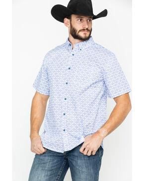 Gibson Men's Roy Linden Geo Print Short Sleeve Western Shirt , Royal Blue, hi-res