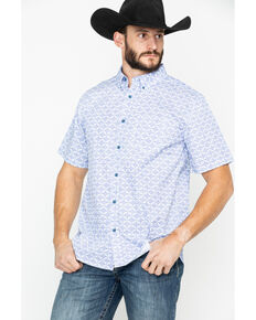 Gibson Men's Roy Linden Geo Print Short Sleeve Western Shirt , Royal Blue, hi-res