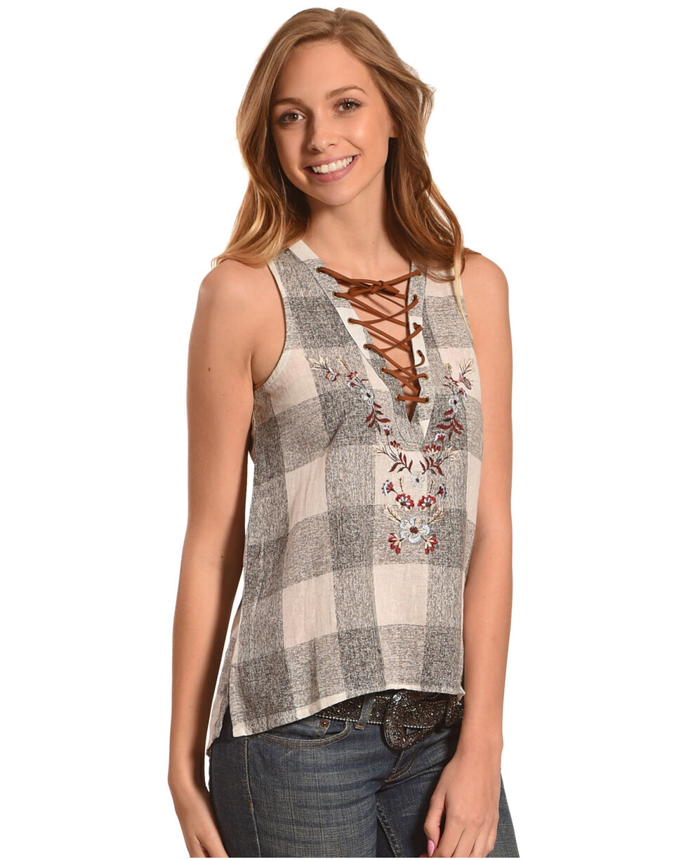 Shyanne Women's Plaid Lace-Up Sleeveless Top , Grey, hi-res