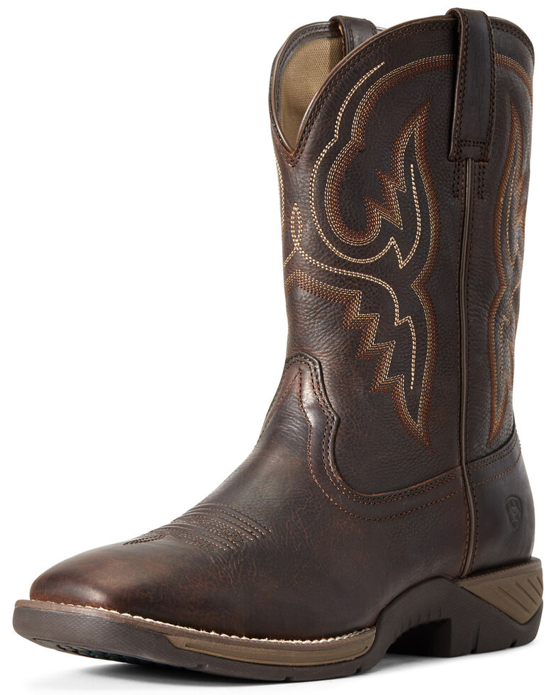 Ariat Men's All Day Barley Western Boots - Wide Square Toe, Brown, hi-res
