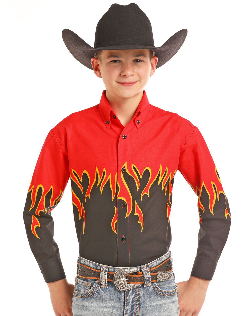 Panhandle Boys' Flame Border Print Long Sleeve Western Shirt , Red, hi-res