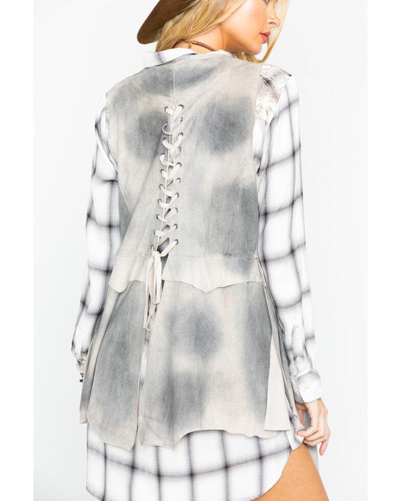 Wrangler Women's Distressed Lace Up Vest, Ivory, hi-res